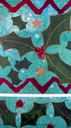 stenciled: Christmas Holly design in tissue paper and ink