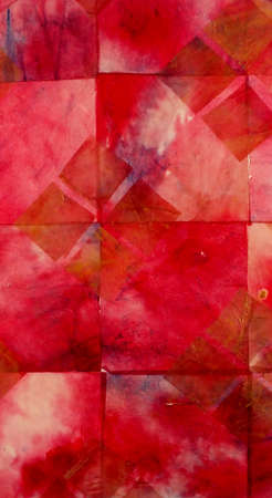 creating: Ink stains on tissue paper creating red and purple background design