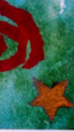 red swirl: stella d'oro e turbinio rosso, carta velina stencil e lacerato