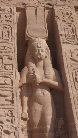 Statue of Egyptian goddess Hathor at Abu Simbel,   photo