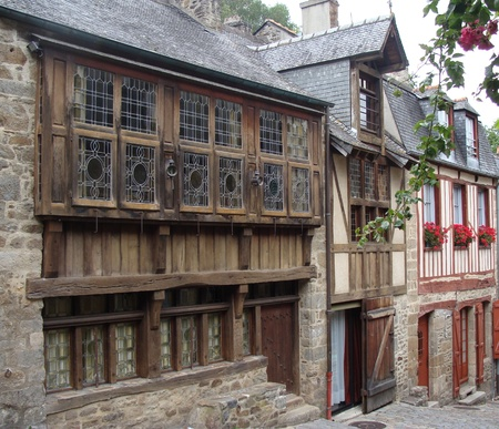 dinan: Dinan, Brittany, France,timber  medieval buildings   Editorial