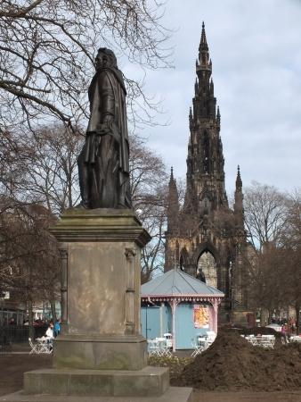 princes street: Edinburgh , Scotland, April 2013, Princes Street Gardens ,statue of Allen Ramseyardens, Editorial