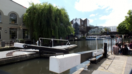 canal lock: London June 8th 2013. The canal lock at Camden Lock market
