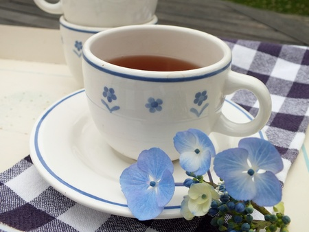 Cup and saucer of tea on a breakfast tray outdoors with blue hydrangea flowers as decoration  Stock Photo - 21593733
