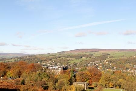 View of rural Yorkshire, landscape of Ilkley Moor, UK Stock Photo