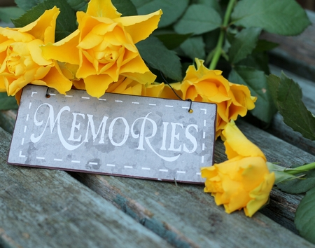 Memories and yellow roses, a symbol of remembrance   A shabby chic metal sign , with symbolic flowers on an old bench , vintage photo
