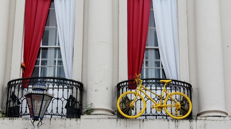 depart: The Yorkshire town of Ripon prepares for the Grand Depart of the 2014 Tour de France with yellow bicycle decorating the town hall