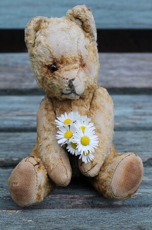 Old teddy bear sat on a vintage wooden bench , lost and lonely, left behind , retro , antique toy, childhood friend photo