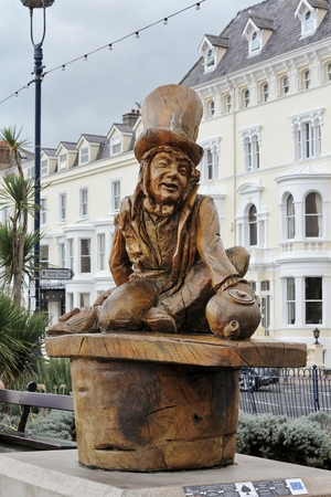 LLANDUDNO October 30th 2014. A carved wooden statue of Lewis Carrol\