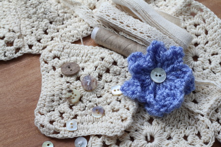 craft materials: Cream crochet squares with soft cotton yarn, blue crochet flower,small pretty vintage buttons, beige thread, cream lace bundle collection of neutral coloured textile craft materials