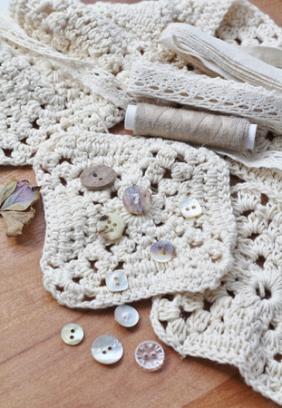 craft materials: Cream crochet squares with soft cotton yarn, small pretty vintage buttons, beige thread, cream lace bundle collection of neutral coloured textile craft materials