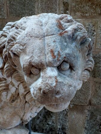 ancient lion: Ancient lion statue at the Archaelogical museum,old town Rhodes, Greece