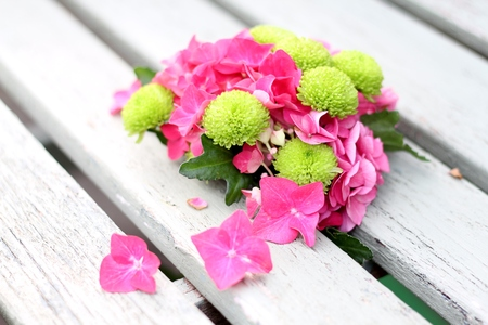 posy: Unusual posy of pink and green hyrdrangea and chyrsanthemum on wooden bench, shallow depth of field Stock Photo