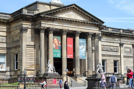 victorian architecture: Walker Art Gallery showing Pre Raphaelites exhibition in the  city of Liverpool, UK. Victorian architecture