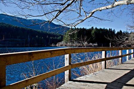 Boardwalk with railings forming an integral part of a hiking trail network around the lake