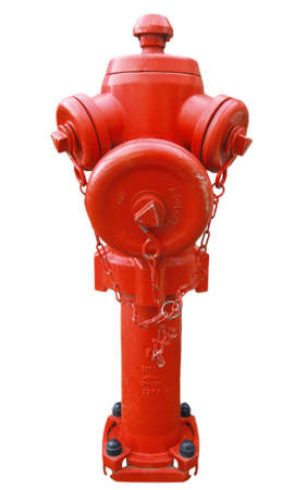 Closeup photo of isolated red fireplug on a white background Stock Photo