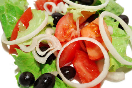 Close up fresh salad mix on a white plate  Stock Photo