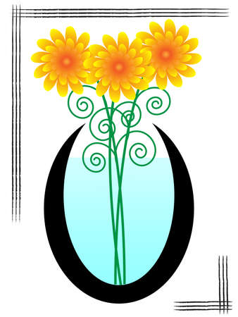 Orange flowers in the vase. Vector illustration
