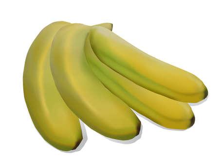 Isolated fresh juicy bananas on white background