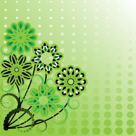 spotted flower: Abstract floral background with halftone effect. Vector illustration