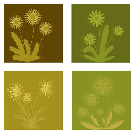 Set of different isolated flowers. Design elements Illustration