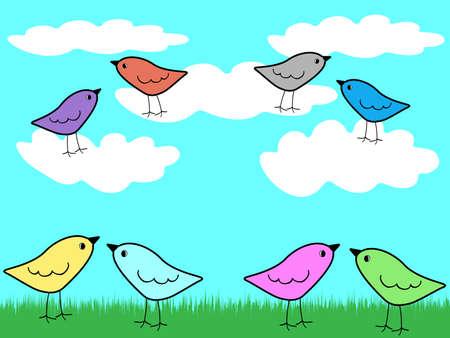 birds of paradise: Vector illustration of paradise birds