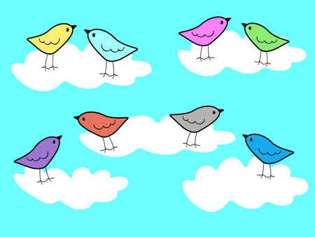 Vector illustration of paradise birds