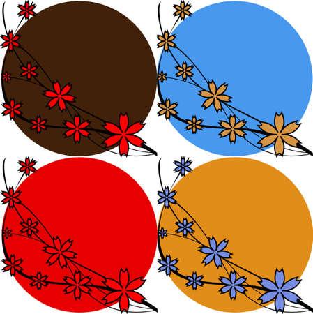 Set of floral backgrounds in different variations. Vector illustration Illustration