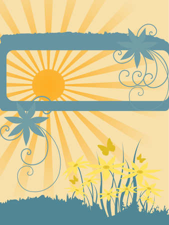 Background made of flowers and sun. Vector illustration Illustration