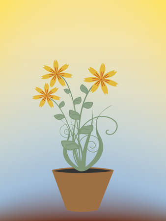 Beautiful houseplant in a pot. Vector illustration Illustration