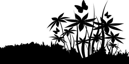 Silhouettes of flowers in black color. Vector illustration