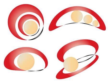 logotypes: Set of abstract logotypes for company. Vector illustration Illustration