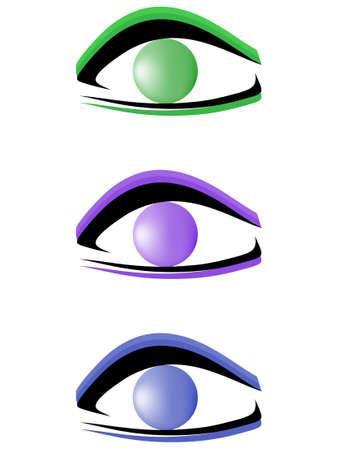 bright eyes: Set of abstract logotypes for company. Eyes Illustration