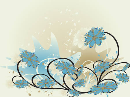 Abstract floral background in grunge style. Vector illustration