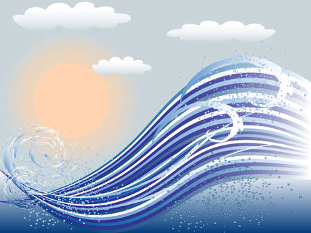 Marine background made of waves, ocean water and sun Illustration