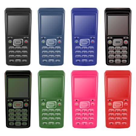 pink cell: Conjunto de tel�fonos m�viles en las diferentes variaciones. Ilustraci�n vectorial