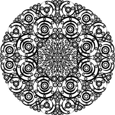 Vector illustration ornamental element made of curls and circles