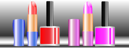 Vector illustration of lipstick and nail polish Illustration