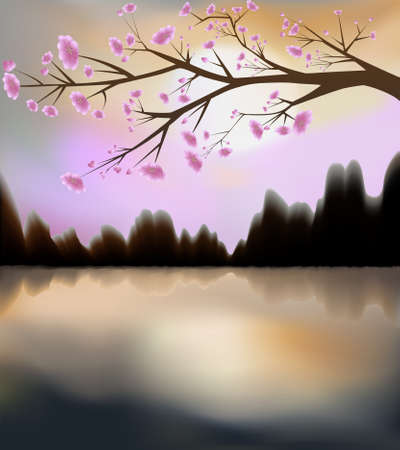 blossoming: Illustration of sunset and sakura in bloom Illustration