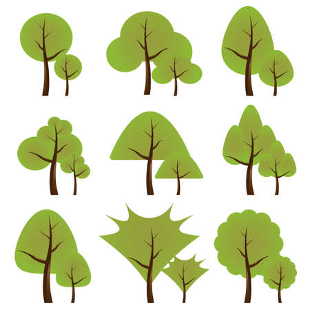 Set of trees in different variations Vector