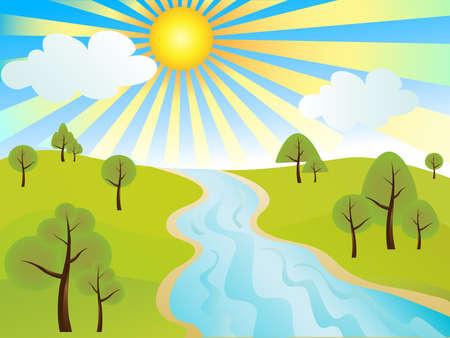 yellow landscape: Vector illustration of tranquil rural landscape Illustration