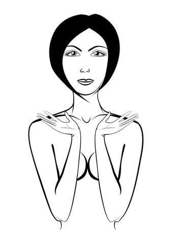 ni�a desnuda: Hermosa chica desnuda con sus manos levantado Vectores