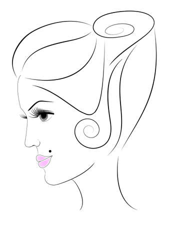 illustration of womans face in profile Vector