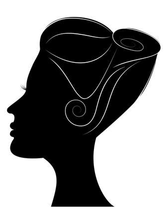 Silhouette of girls profile with beautiful hairstyle Vector