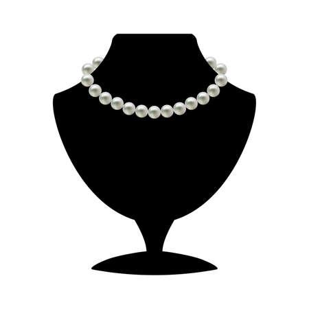 collares: Collar de la perla en maniqu� negro aislado en un fondo blanco