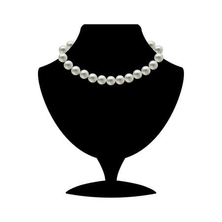 Pearl necklace on black mannequin isolated on a white background