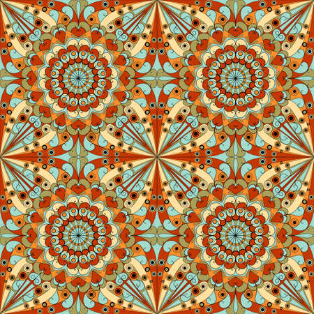 kaleidoscope: Colorful geometric pattern seamless. Arabesque style Illustration
