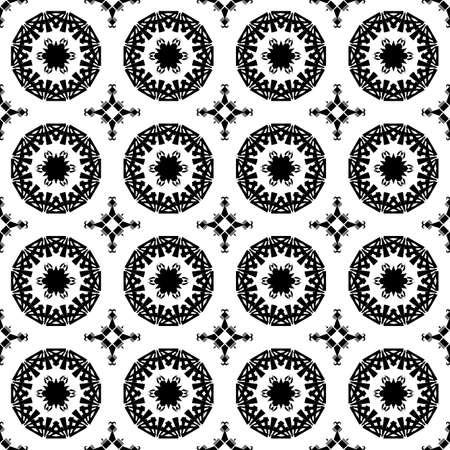 Black and white geometric pattern seamless. Arabesque style Vector