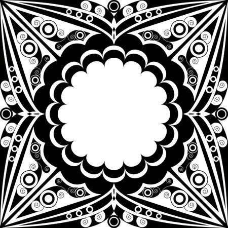 Black and white patterned frame. Arabesque ornament Vector