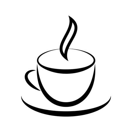 Graphic drawing of cup with hot drink Vector